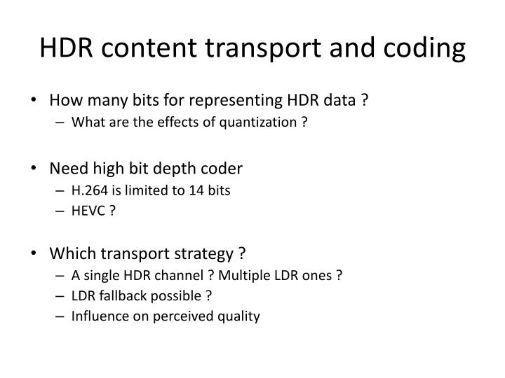 HDR content transport and
