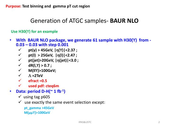 Generation of atgc samples baur nlo