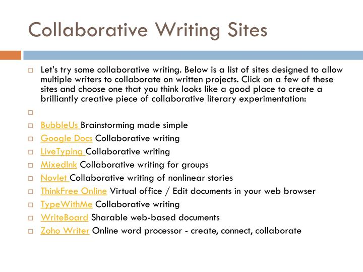 Collaborative writing sites