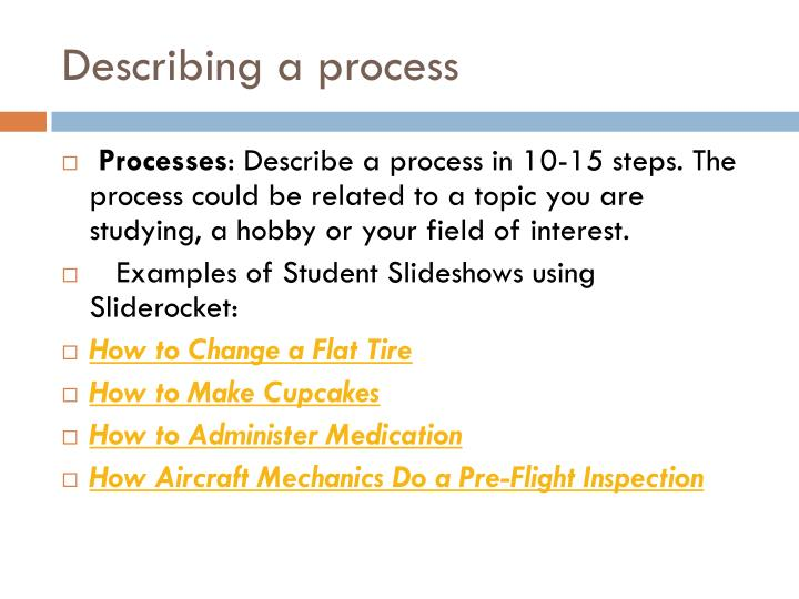 Describing a process