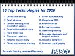 16 top technologies for 2020