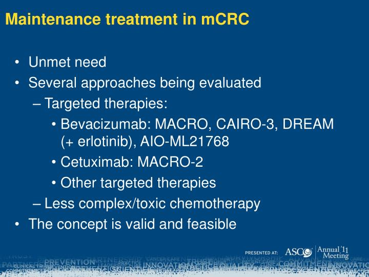 Maintenance treatment in mCRC