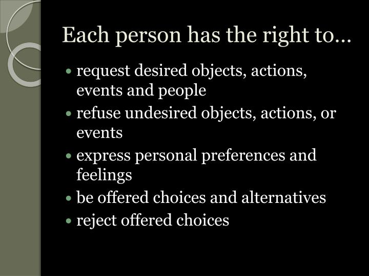 Each person has the right to…
