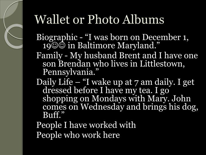Wallet or Photo Albums