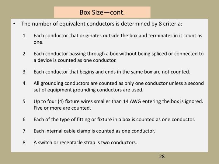 Box Size—cont.