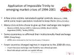 application of impossible trinity to emerging market crises of 1994 2001