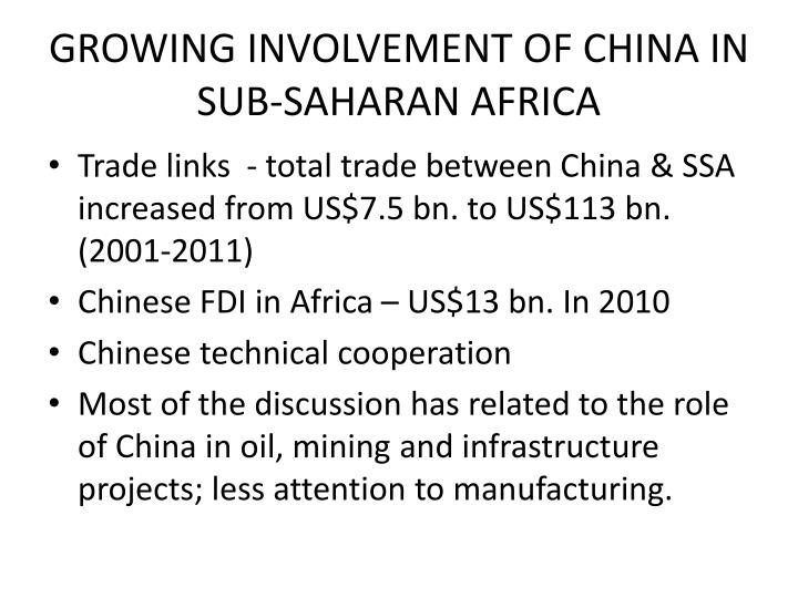 Growing involvement of china in sub saharan africa
