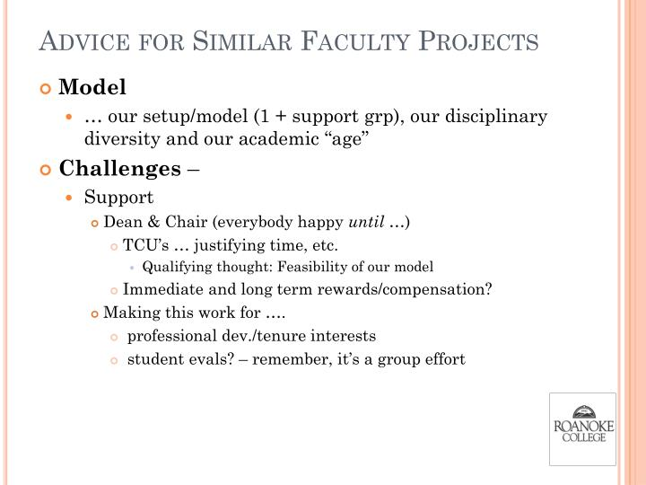 Advice for Similar Faculty Projects