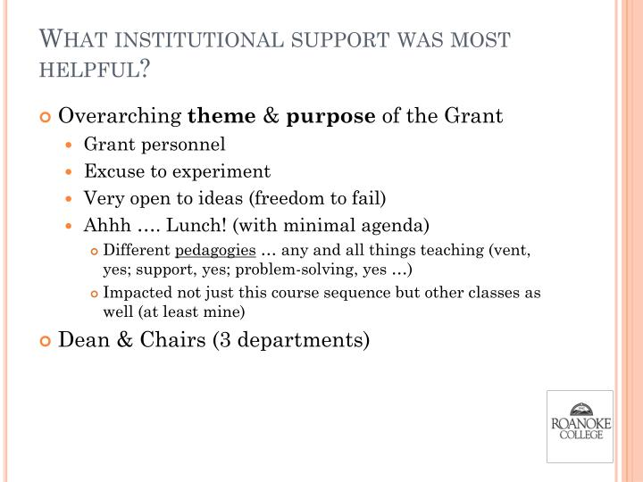 What institutional support was most helpful?