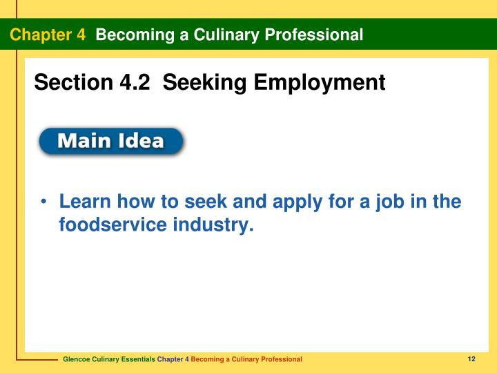 Section 4.2  Seeking Employment