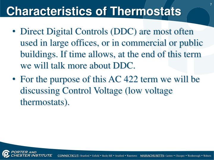 Characteristics of Thermostats