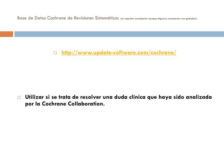 Base de Datos Cochrane de Revisiones Sistemáticas