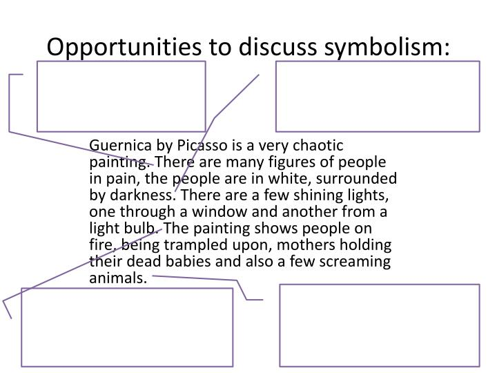 Opportunities to discuss symbolism: