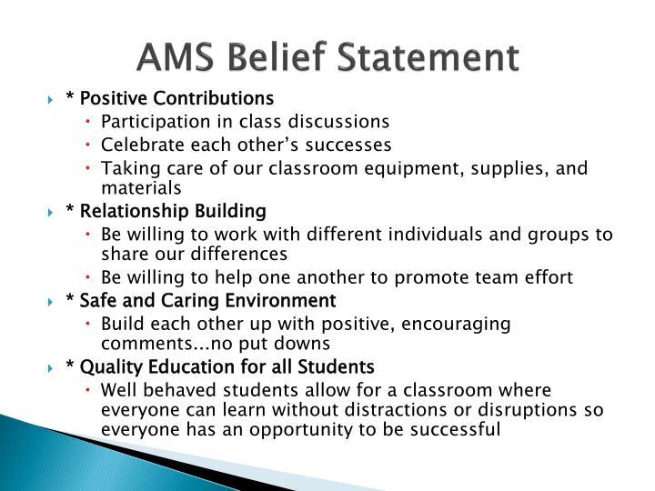 Ams belief statement