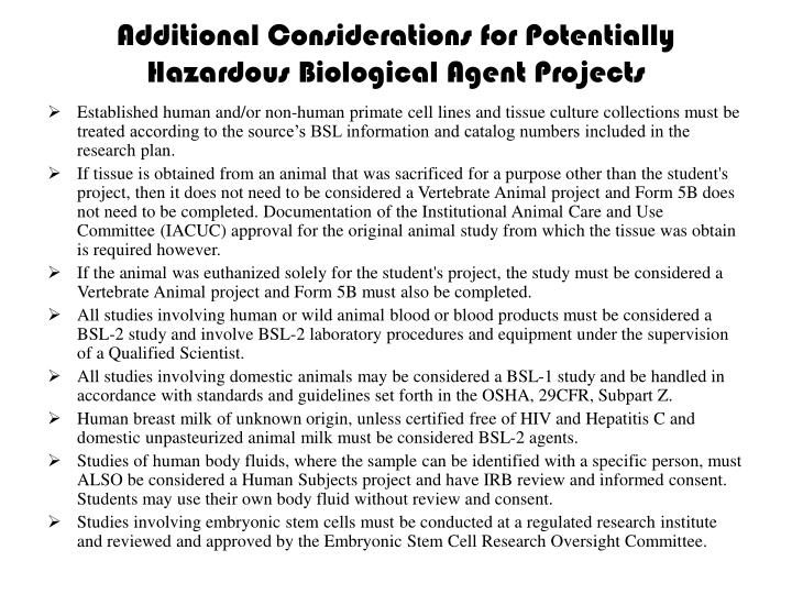 Additional Considerations for Potentially Hazardous Biological Agent Projects
