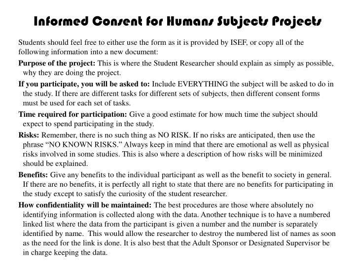 Informed Consent for Humans Subjects Projects