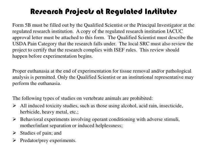 Research Projects at Regulated Institutes