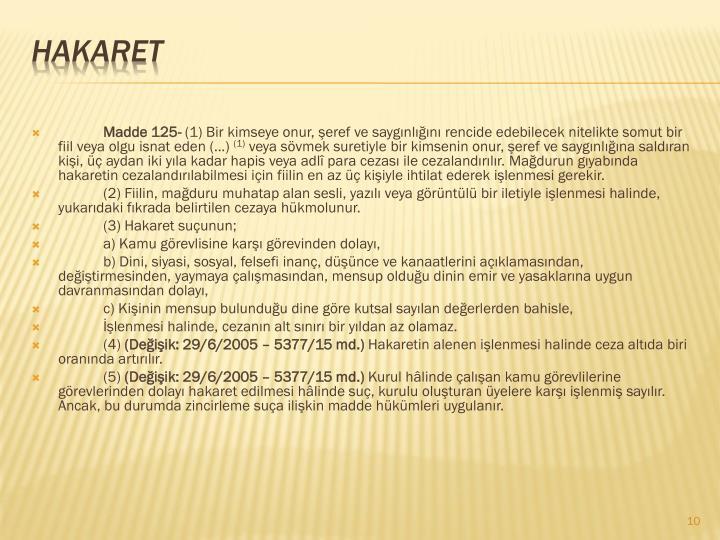 Madde 125-