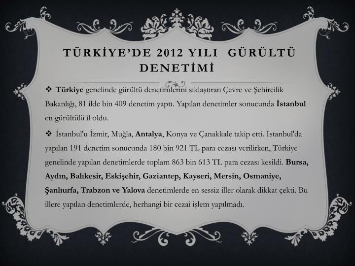TÜRKİYE'DE 2012 YILI  GÜRÜLTÜ DENETİMİ