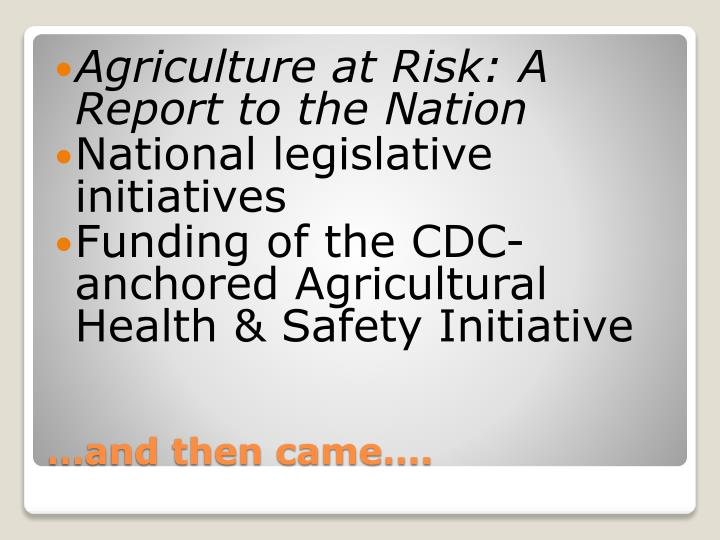 Agriculture at Risk: A Report to the Nation
