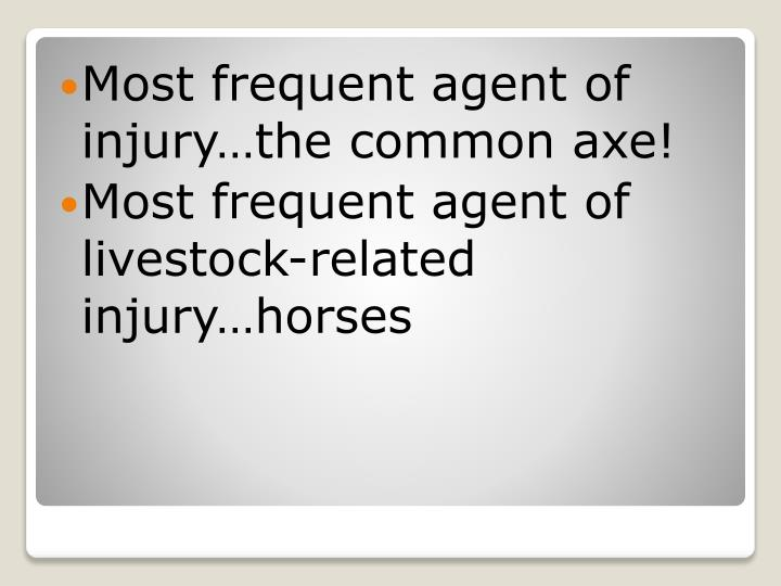 Most frequent agent of injury…the common axe!