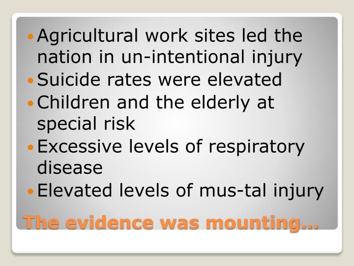 Agricultural work sites led the nation in un-intentional injury