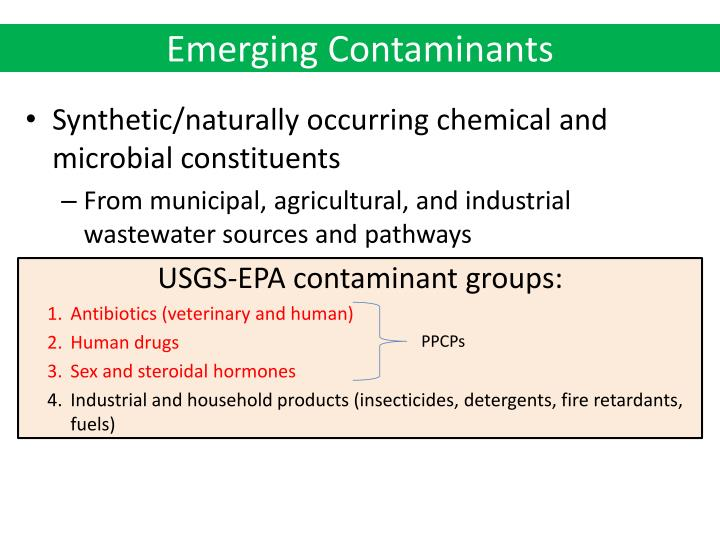 Ppt Emerging Contaminants Pharmaceuticals And Personal