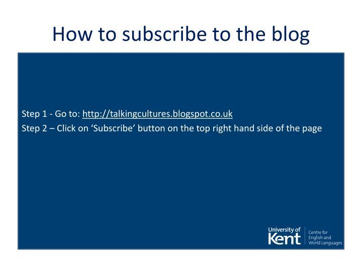 How to subscribe to the blog
