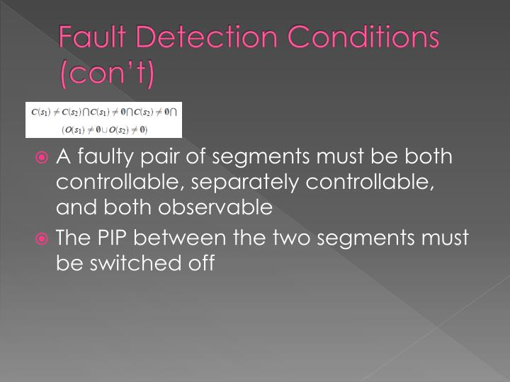 Fault Detection Conditions (