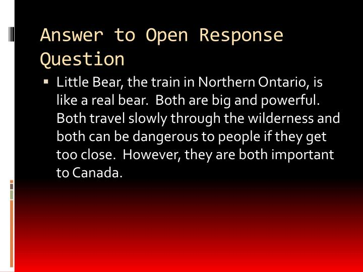 Answer to Open Response Question
