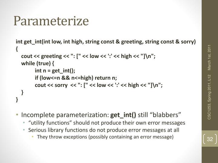 Parameterize