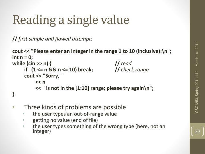 Reading a single value