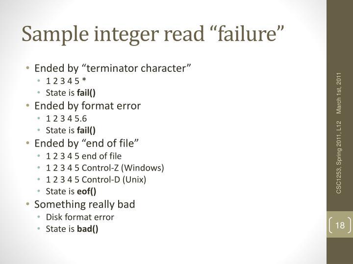 "Sample integer read ""failure"""