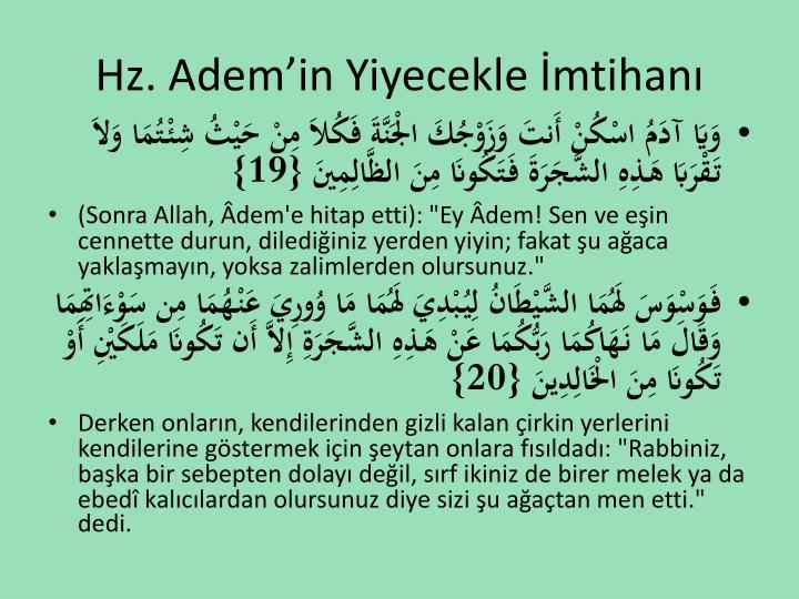 Hz. Adem'in Yiyecekle İmtihanı