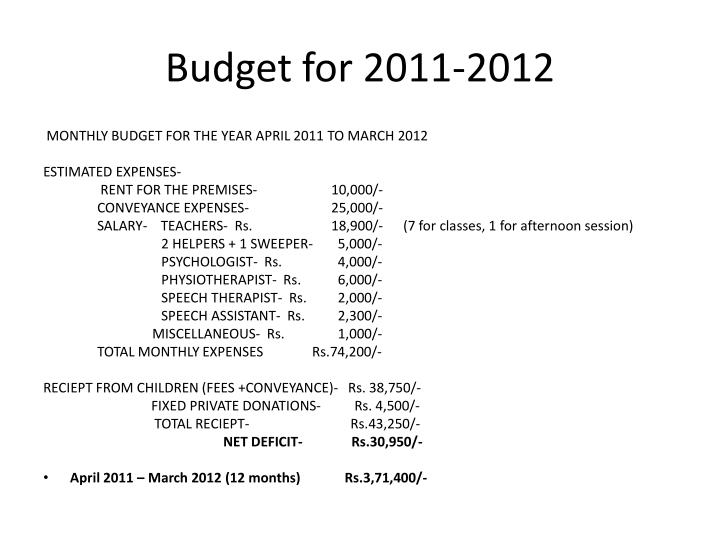 Budget for 2011-2012
