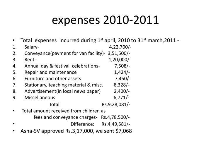 expenses 2010-2011
