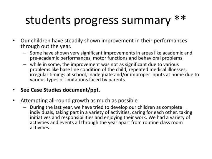 students progress summary **