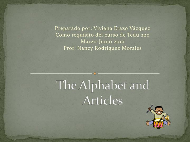 the alphabet and articles n.