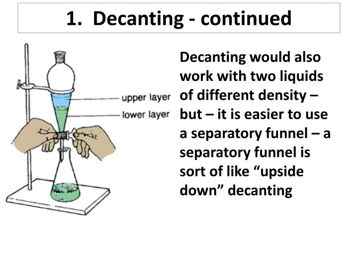 1.  Decanting - continued