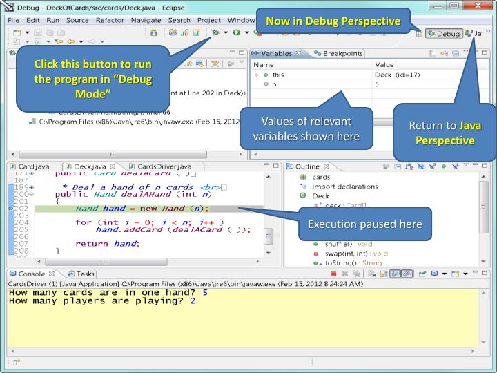 Now in Debug Perspective