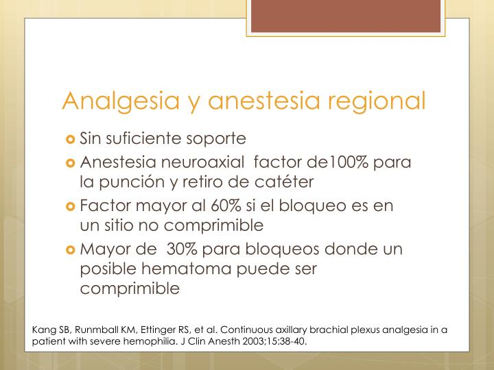 Analgesia y anestesia regional