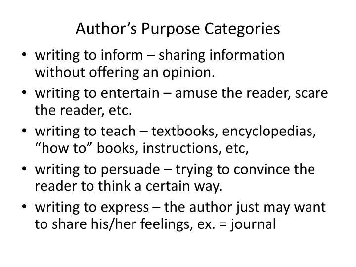 Author's Purpose Categories