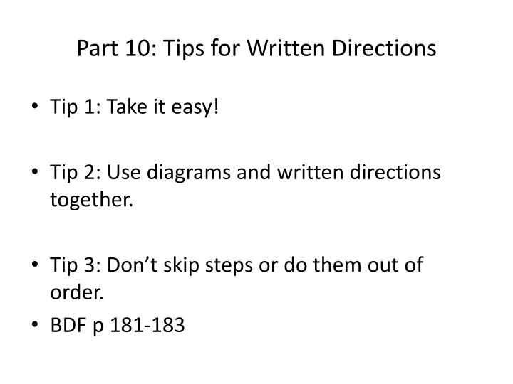 Part 10: Tips for Written Directions