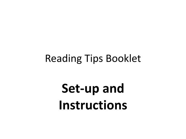Reading tips booklet