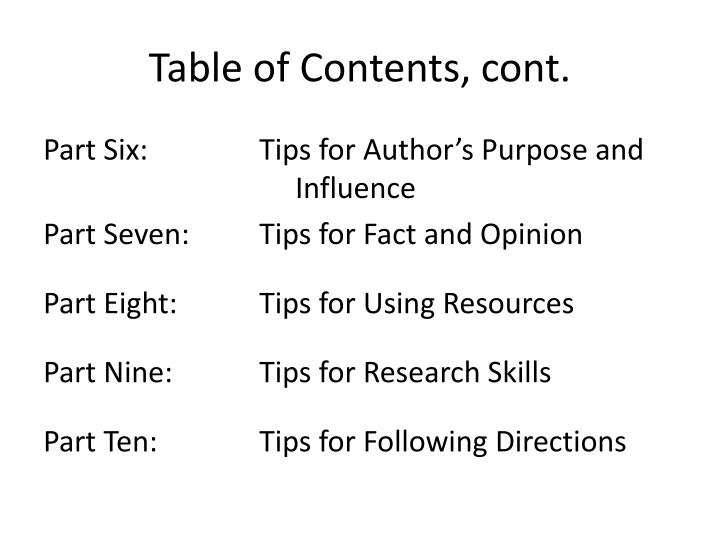 Table of Contents, cont.