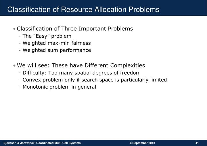 Classification of Resource Allocation Problems
