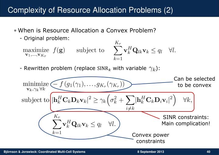 Complexity of Resource Allocation