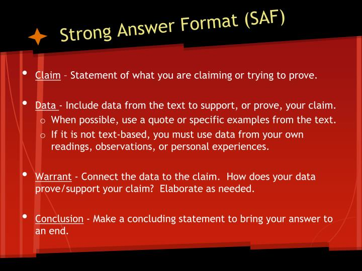 Strong answer format saf