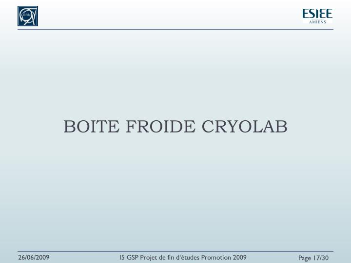 BOITE FROIDE CRYOLAB