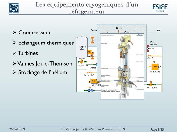 Les équipements cryogéniques d'un réfrigérateur